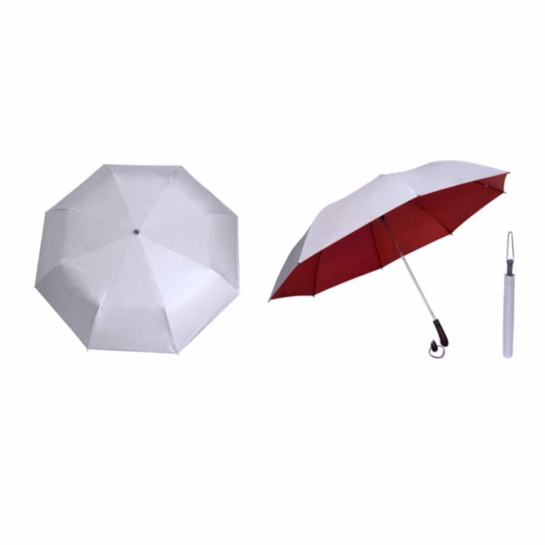 28inch Silver Coated Umbrella - Foldable (Red)